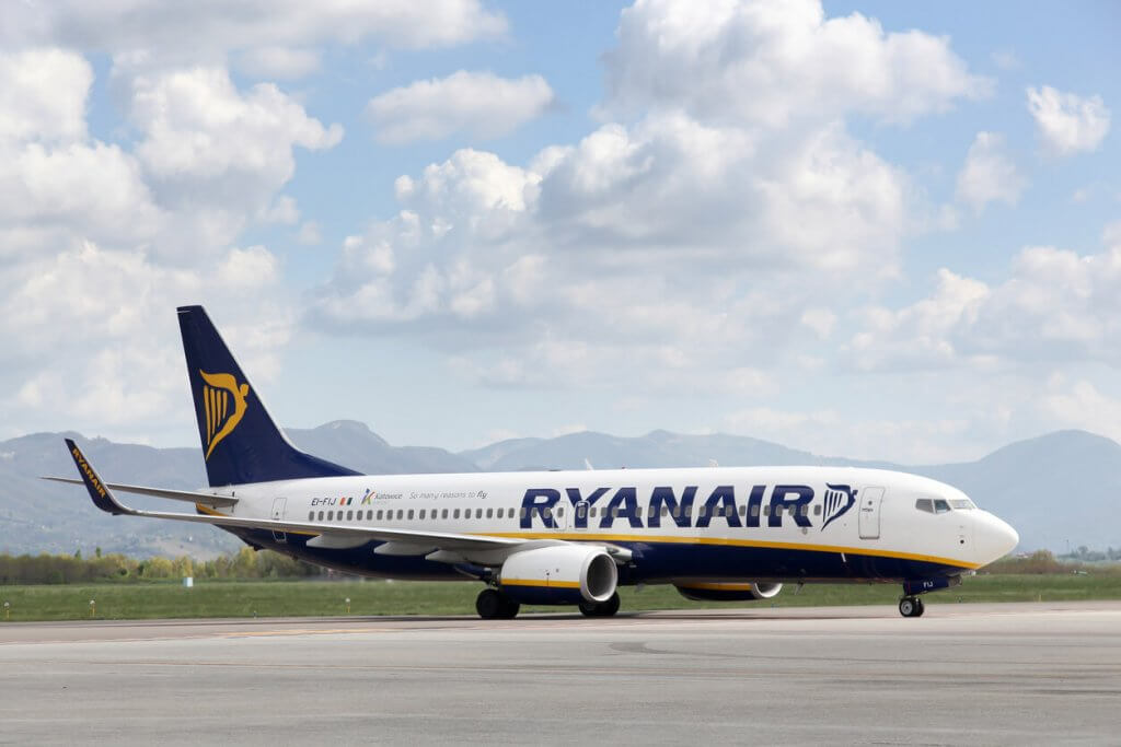 Bergamo, Italy - April 12, 2016: Ryanair airplane at Bergamo airport in Italy. Ryanair is an Irish low-cost airline headquartered in Swords, Dublin, Ireland