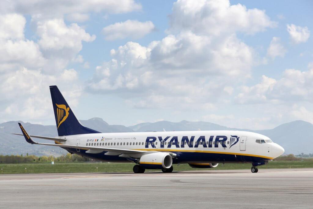 Bergamo, Italy - April 12, 2016: Ryanair airplane at Bergamo airport in Italy. Ryanair is an Irish low-cost airline headquartered in Swords, Dublin, Ireland