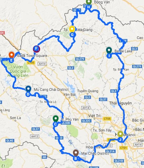 plattegrond route noord vietnam