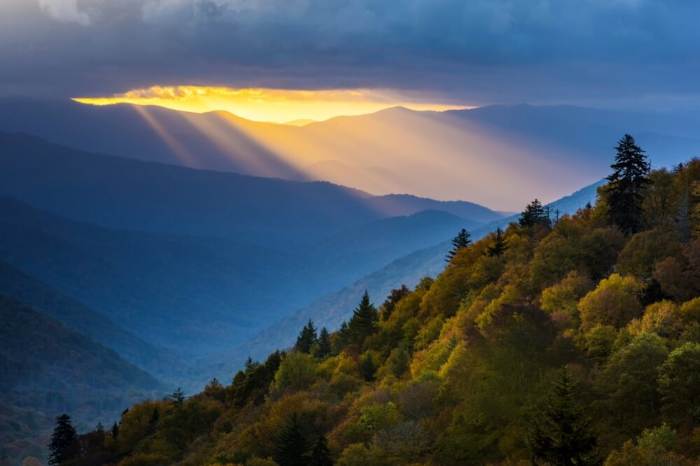 Zonnenstralen in de Great Smoky Mountains National Park