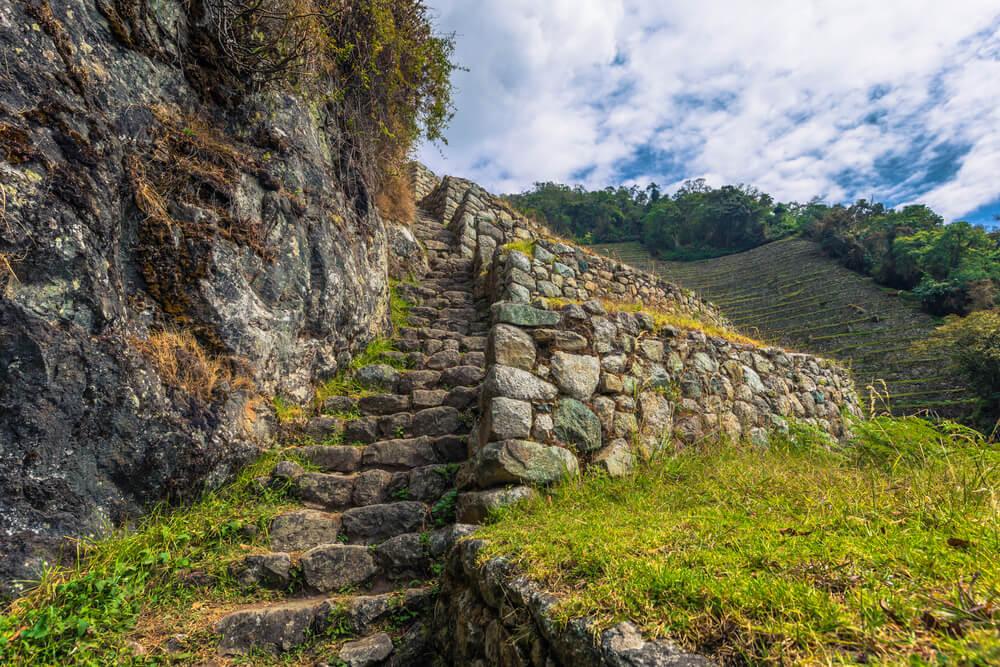 Oude ruïnes van Winay Wayna op de Inca Trail, Peru