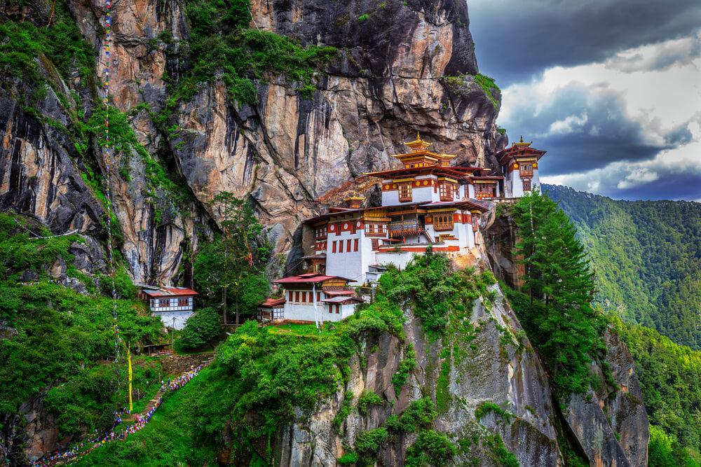 Taktshang Goemba, Klooster in de bergen, Bhutan.