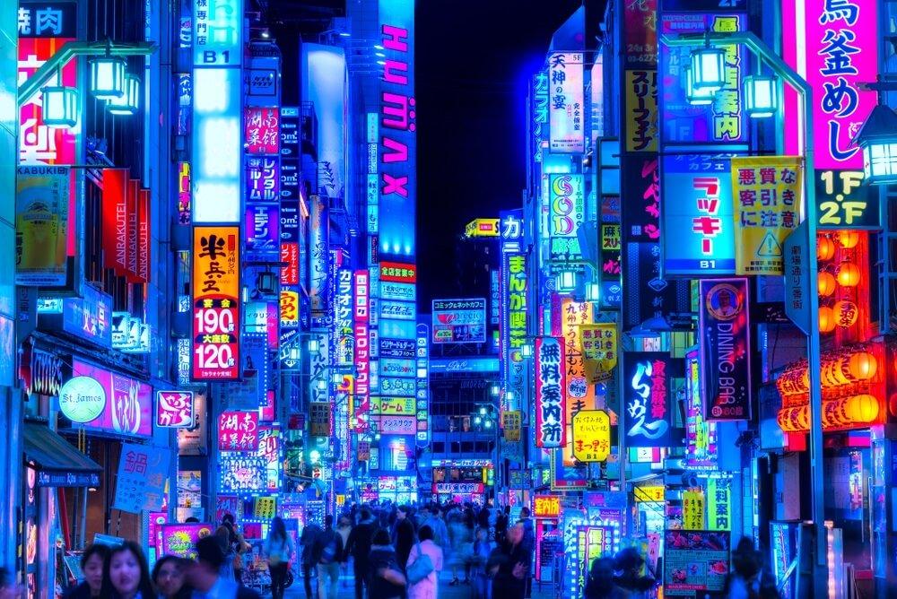 neon billboards japan tokyo