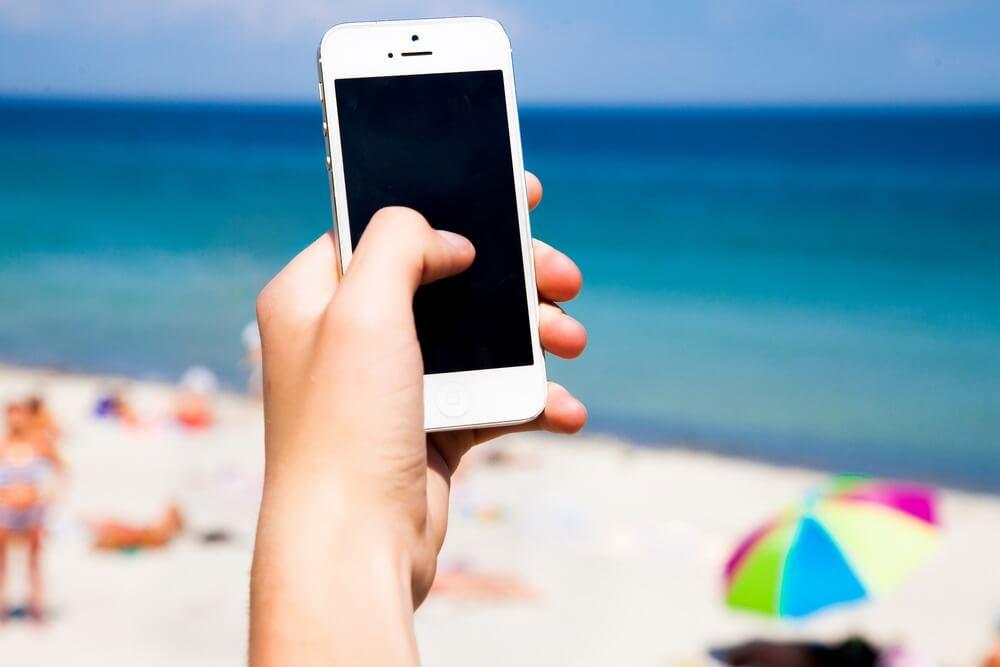 Geen telefoon op het strand