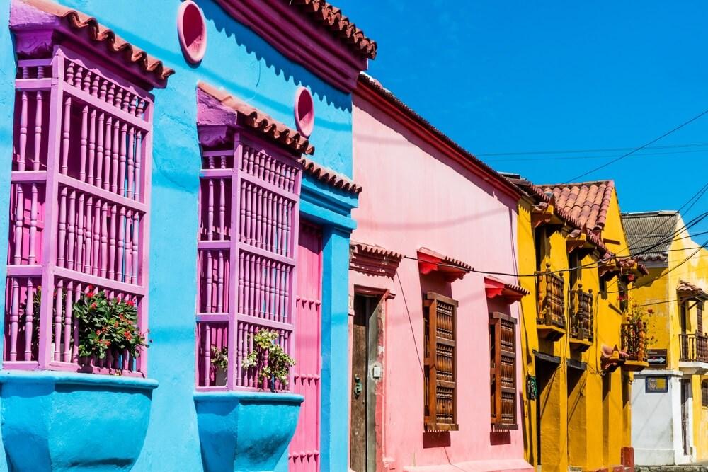 Cartagene Colombia kleurrijke huisjes