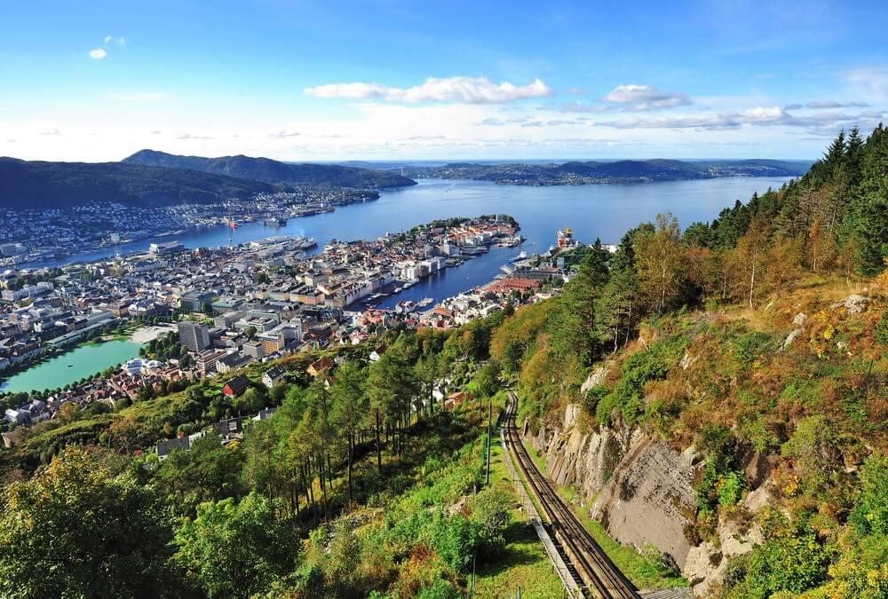 Landschap vanaf de berg Floyen in Bergen, Noorwegen.