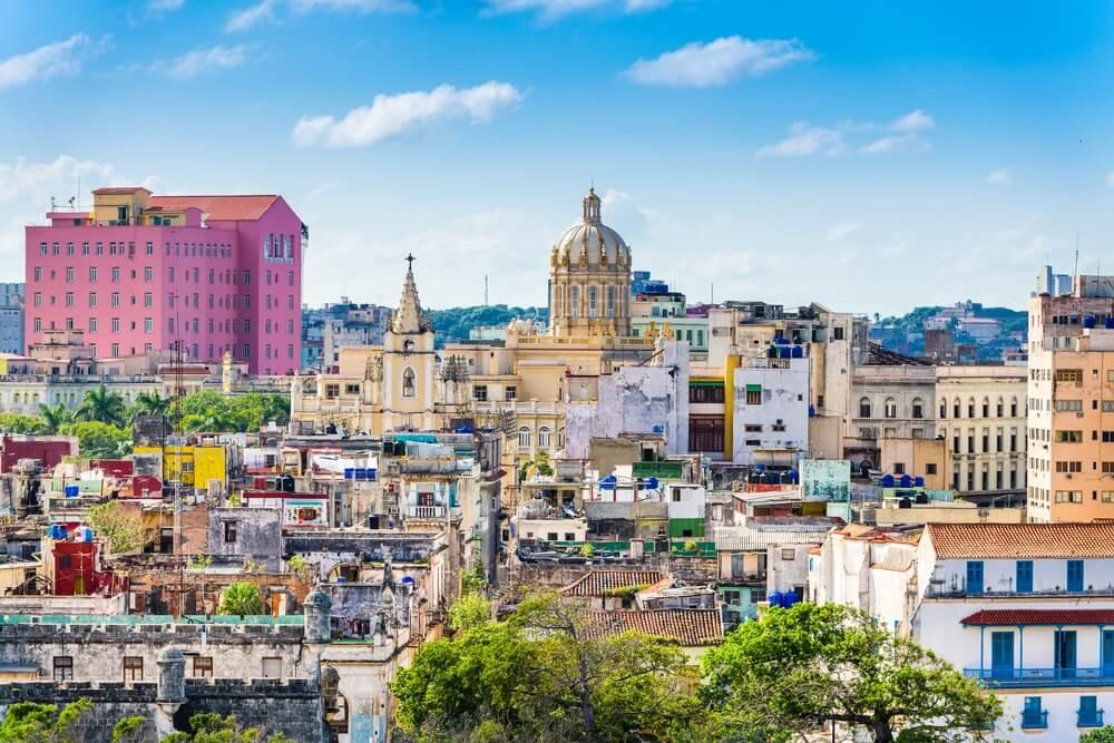 Skyline van het historische centrum van Havana, Cuba