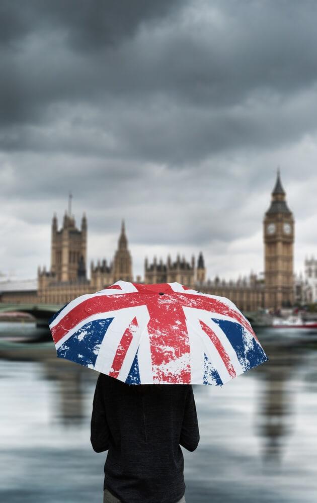 Persoon staat onder zijn paraplu te kijken naar het  Buckingham Palace
