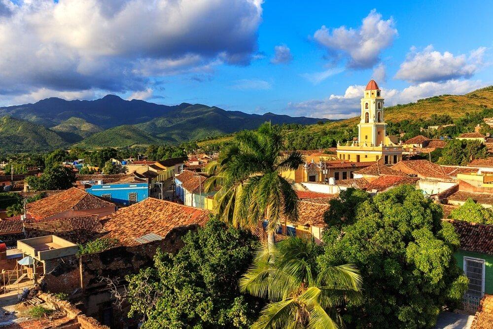 Overzicht over het mooie oude stadscentrum van Trinidad, Cuba