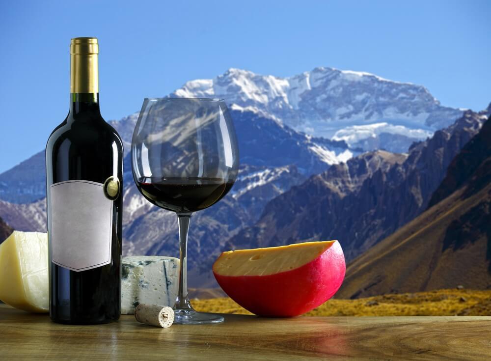 Een fles rode wijn met een glas erbij met op de achtergrond de besneeuwde toppen van het Andes gebergte.