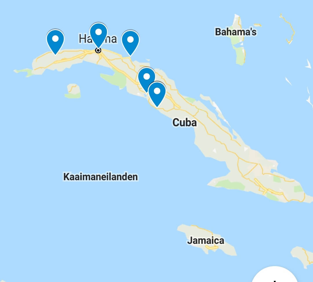 Routekaartje rondreis door Cuba
