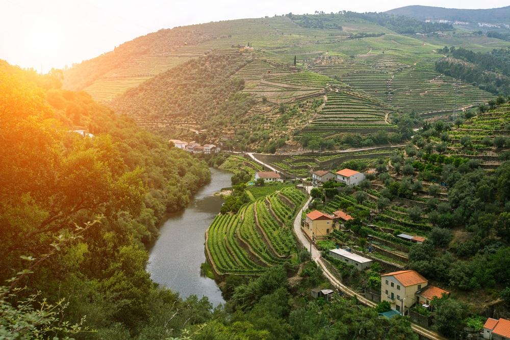 Ondergaande zon over de Douro vallei in Portugal. Wijngaarden en wijnboerderijen liggen langs de rivier de Douro.