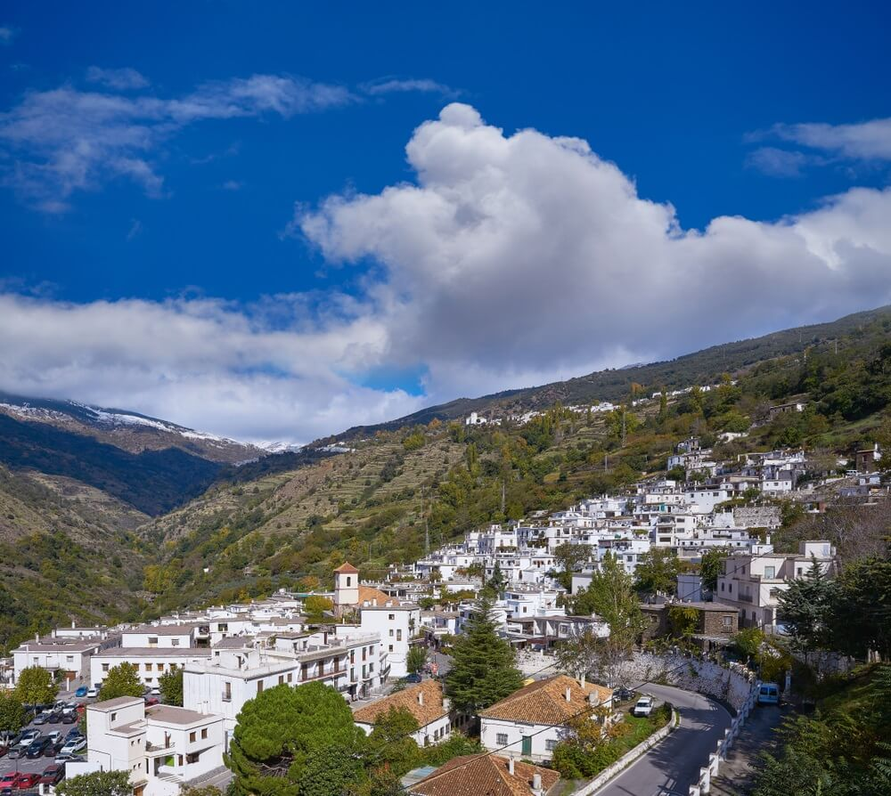 Alpujarras Pampaneira-dorp in Granada dichtbij Sierra Nevada van Spanje