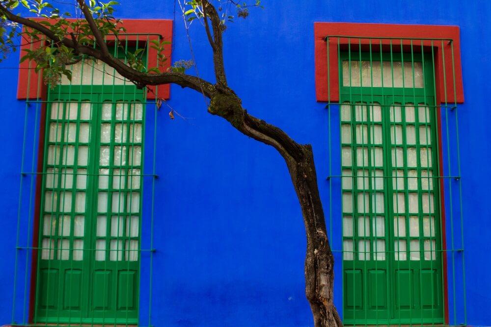Het blauwe huis van Frida Kahlo in Mexico stad. 2 groene deuren aan weerszijden met rode verf aan de bovenkant. een smalle boom met enkele groene blaadjes staat tegen het huis aan.