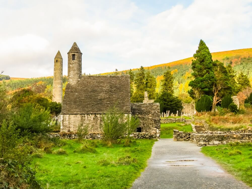 Kloostersite Glendalough. Glendalough Valley, Wicklow Mountains National Park, Ierland