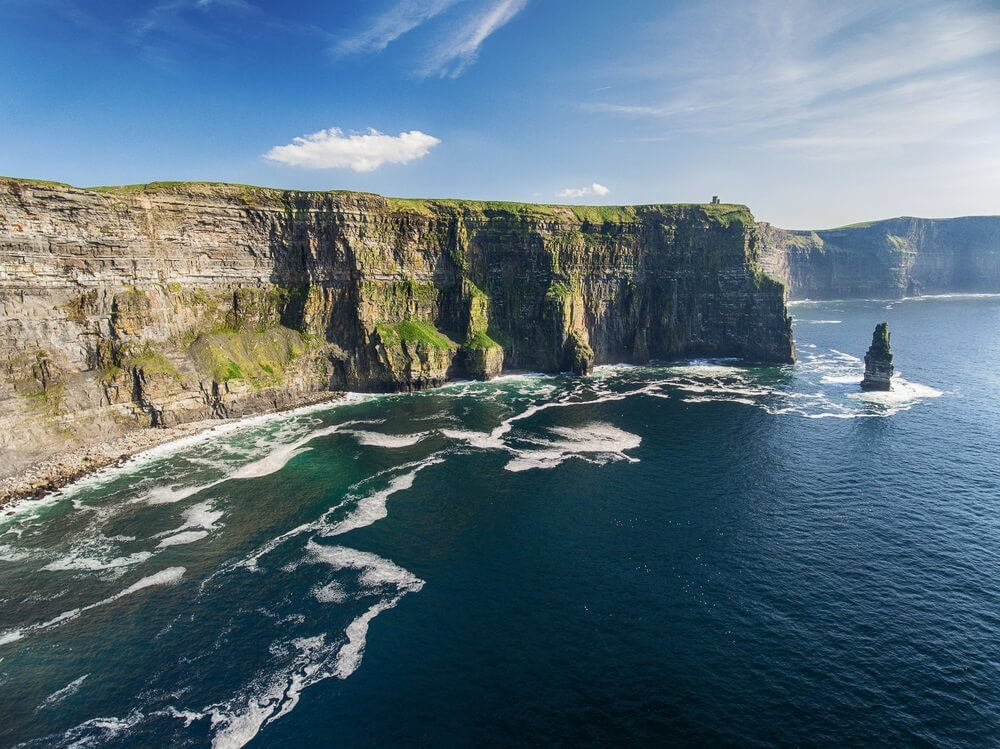 Luchtfoto Ierland platteland toeristische attractie in County Clare. De Cliffs of Moher. Episch Iers Landschap Zeegezicht langs de wilde Atlantische zee. Wereldwijde Geopark van UNESCO