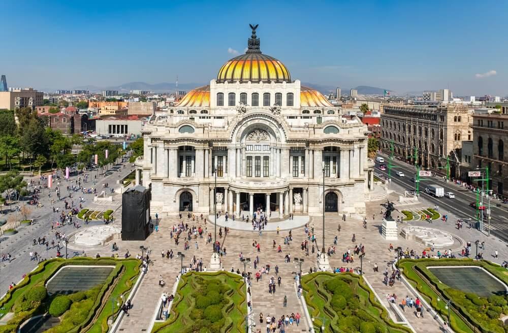 Palacio de Bellas Artes of Paleis voor Schone Kunsten, een beroemd theater, museum en muziek locatie in Mexico-Stad.