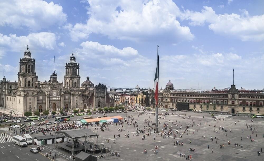 Zocalo, Plein van de Grondwet, Mexico-Stad, DF, de hoofdstad van Mexico.