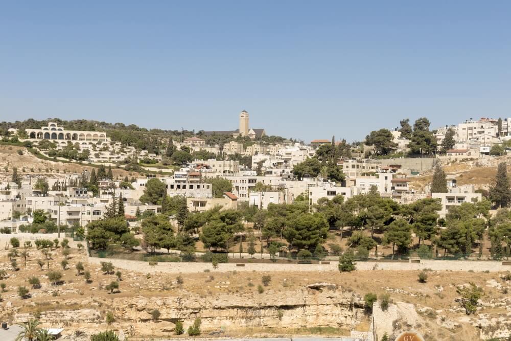 Uitzicht op Bethlehem en olijfberg - de geboorteplaats van Jezus Christus.