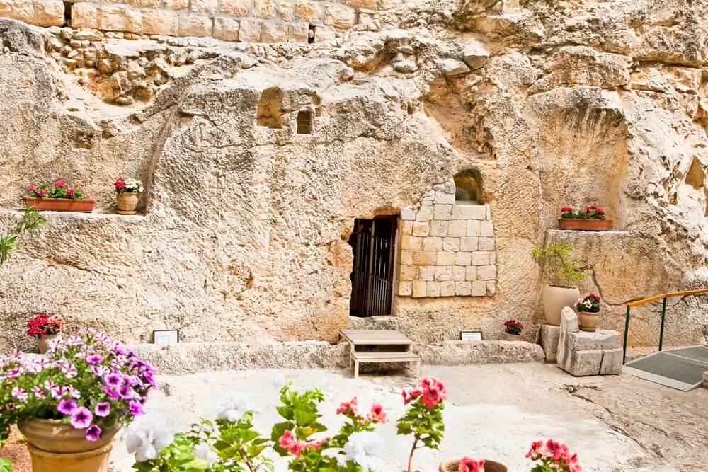 Garden Tomb in Jeruzalem, een van de twee locaties voorgesteld als de plaats van Jezus 'begrafenis. Israël.
