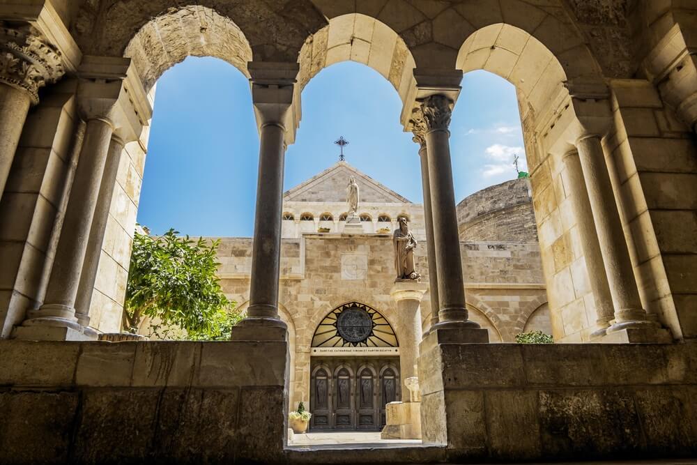 Uitzocht op de Kerk van de Geboorte Bethlehem, Jeruzalem, Israël.