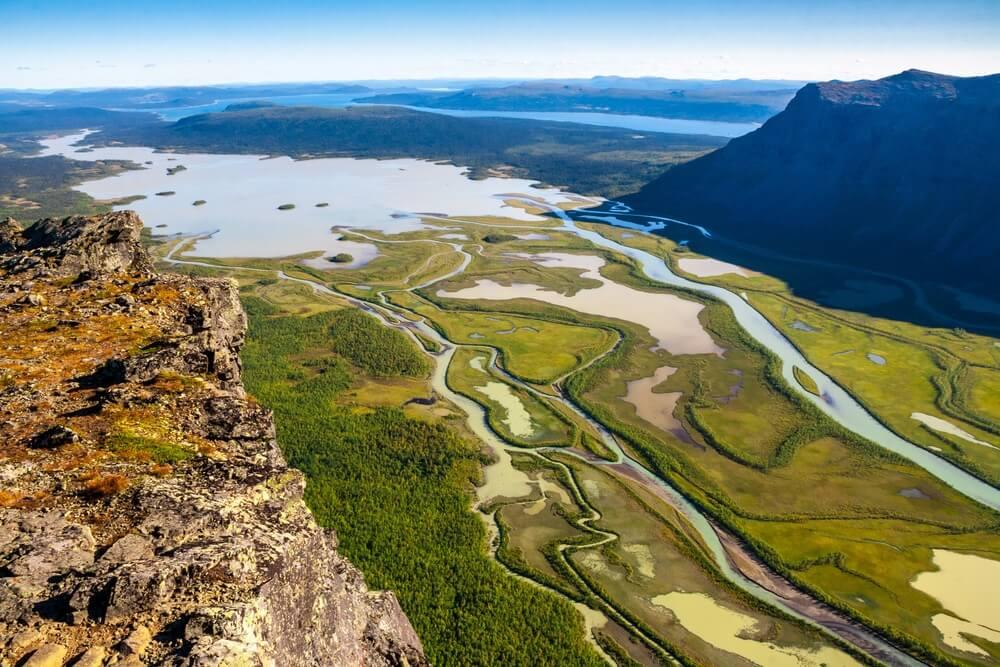 Luchtfoto van Sarek Nationaal Park Zweden.