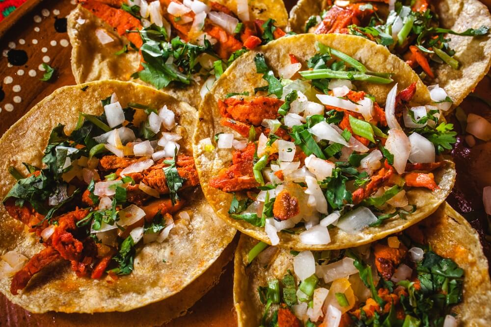 Taco's in mexico, Mexicaans eten, taco's al pastor.