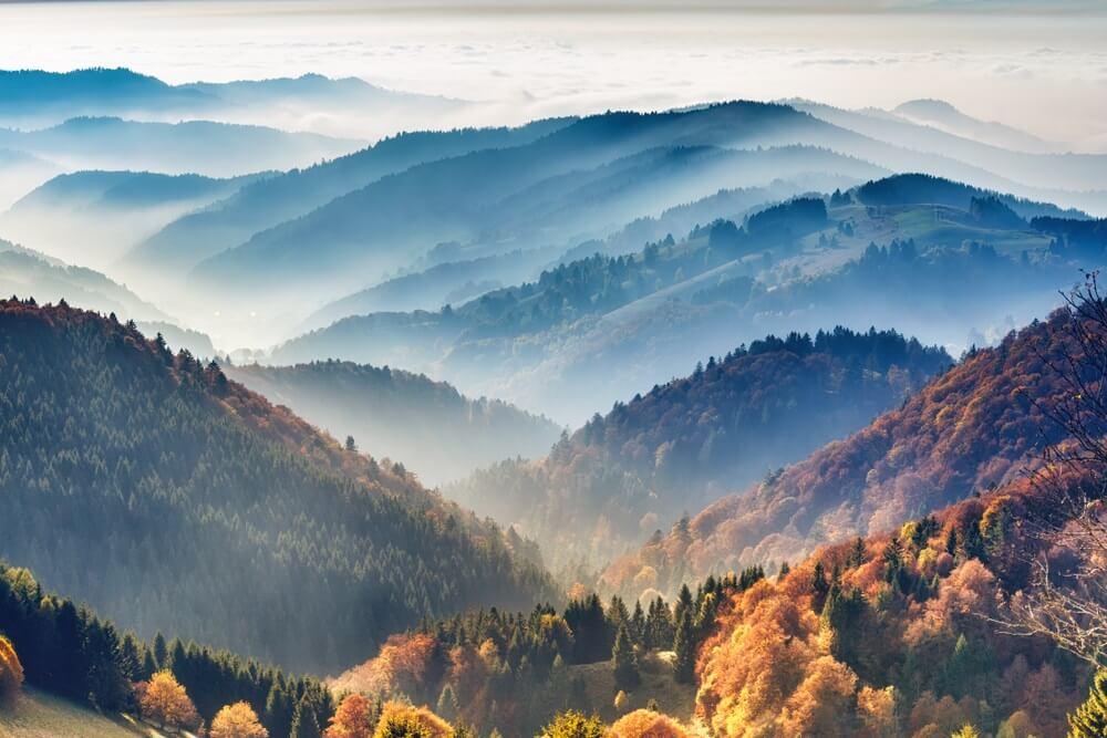Schilderachtig berglandschap. Uitzicht op het Zwarte Woud, Duitsland, bedekt met mist. Kleurrijke reisachtergrond.