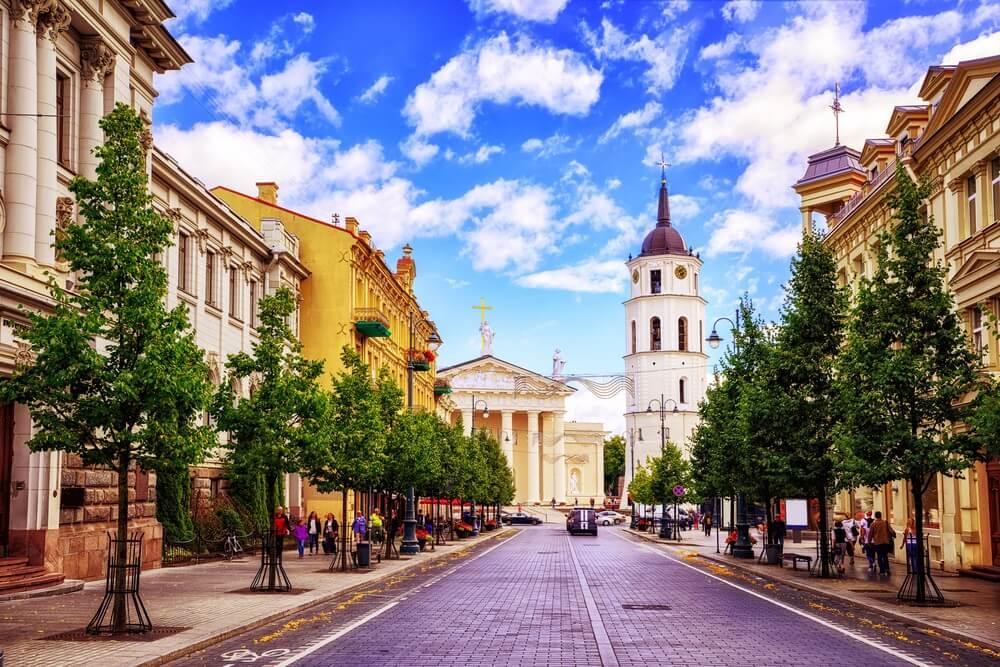 Straat in het mooie Vilnius, Litouwen. Groene bomen aan weerszijden van de straat, witte Kathedraal op de achtergrond.