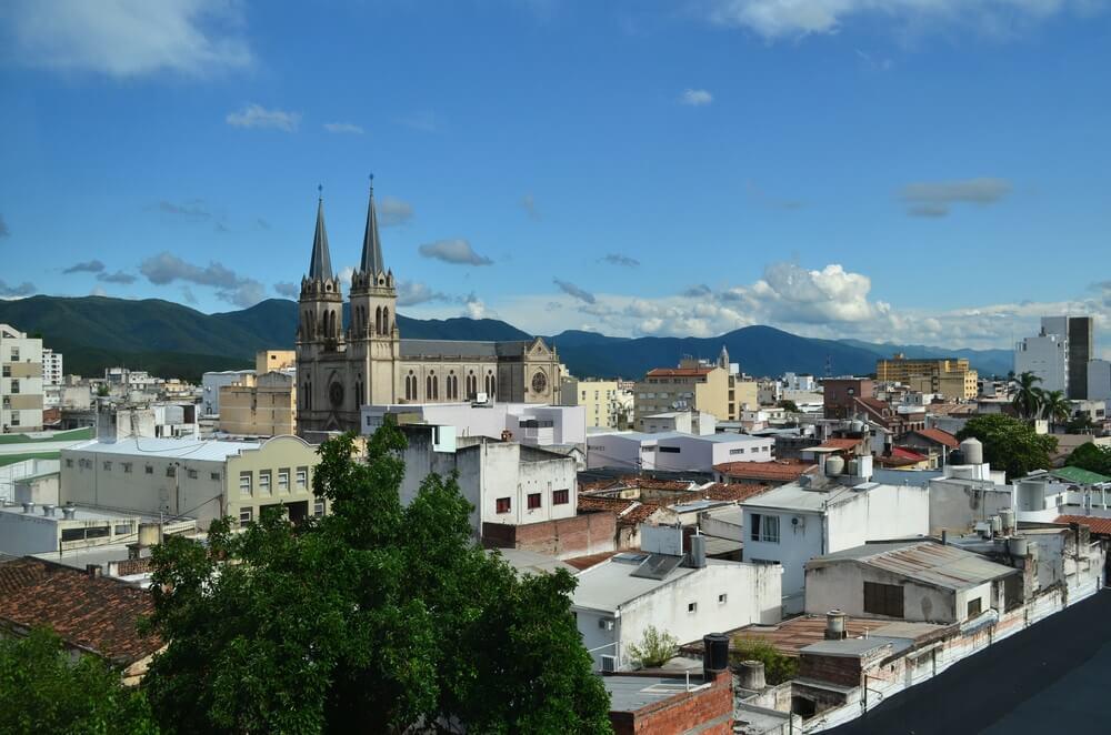 De koloniale architectuur van Salta van noordelijk Argentinië.