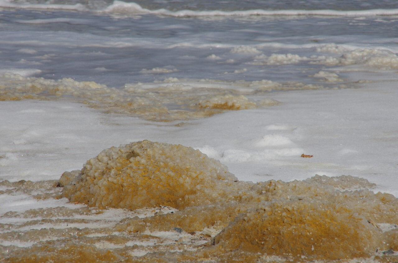 Zoom in van hoopjes met zout in de Dode Zee.