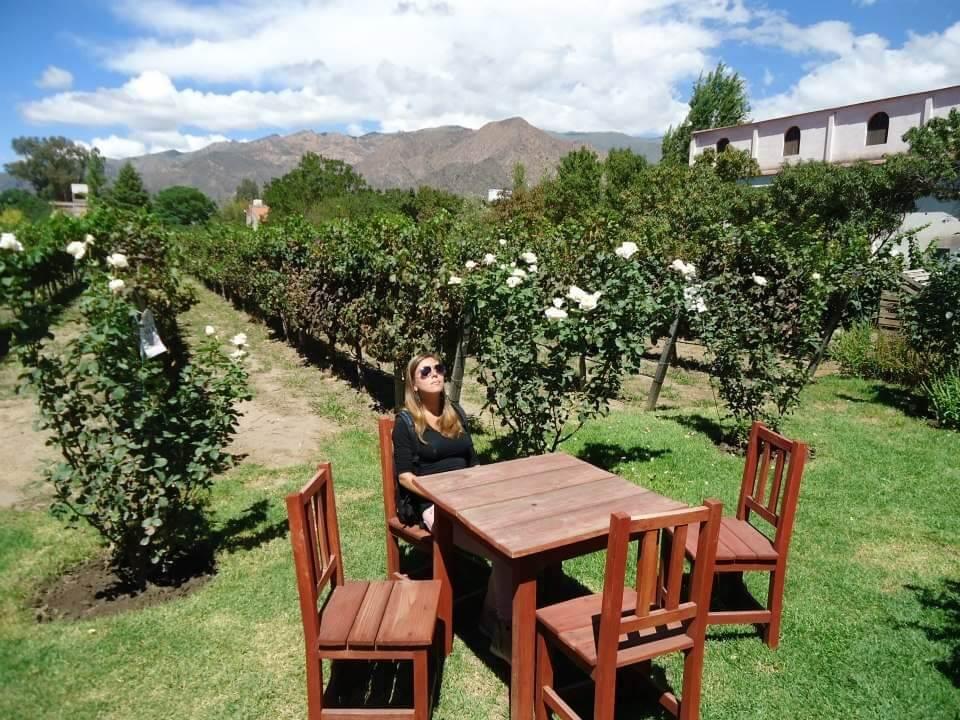 Vrouw geniet van de zon bij een wijngaard in Cafayate, Salta, Argentinië.