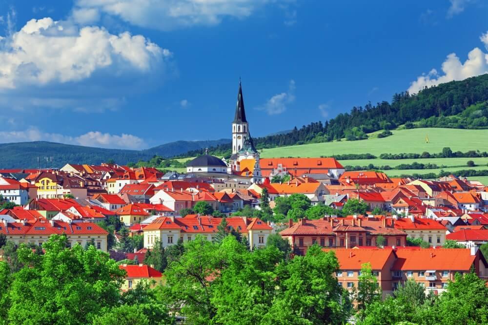 Uitzocht over Slowaakse stad Levoca Unesco-erfenisstad, Slowakije