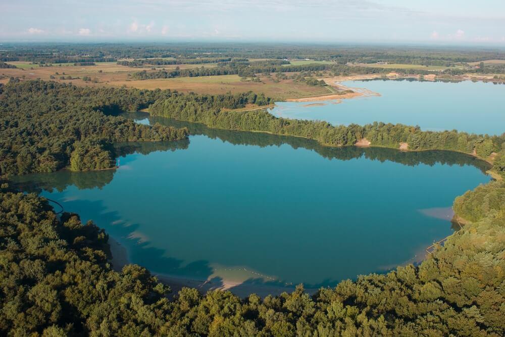 Luchtfoto van het Blauwe meer, Drenthe.