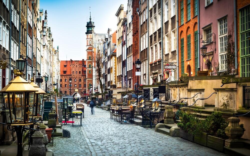 Architectuur van Mariacka straat in Gdansk is een van de meest opvallende attracties in Gdansk.