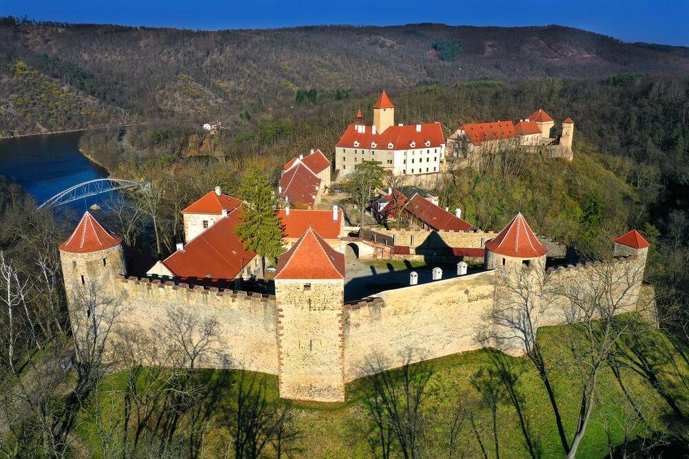 Veverikasteel, dichtbij de stad van Brno, Moravië, Tsjechische republiek.