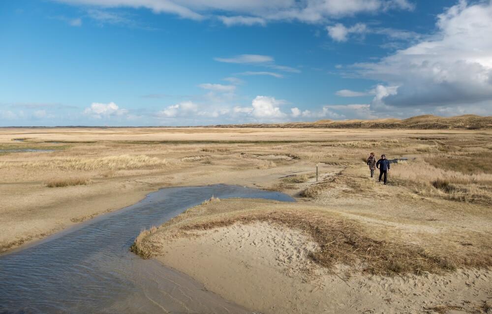 Twee eenzame wandelaars in De Slufter, een natuurgebied op Texel, Nederland.