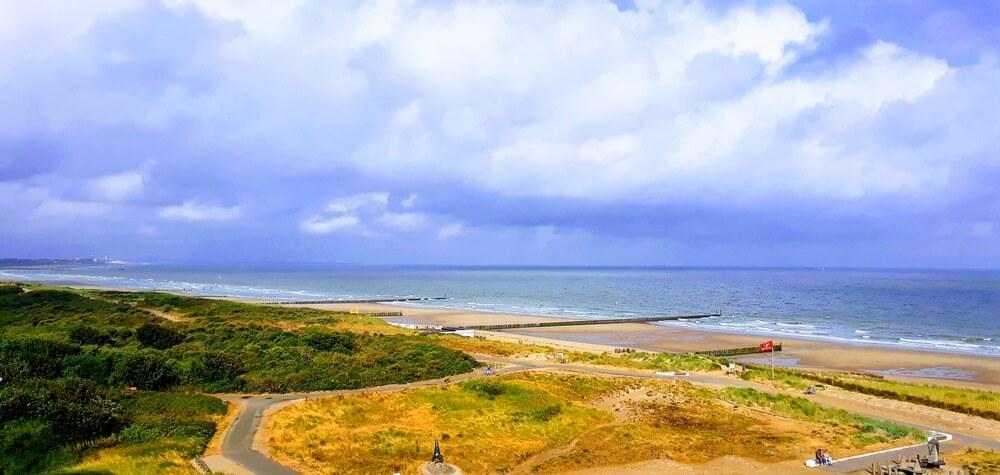 Overzicht over de stranden van Cadzand
