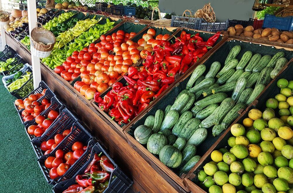 kruidenierswinkel markt fruit groenten Griekenland voor achtergrond.