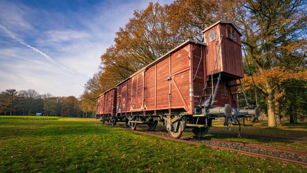 Westerbork, Nederland, Train in voormalig kamp Westerbork.