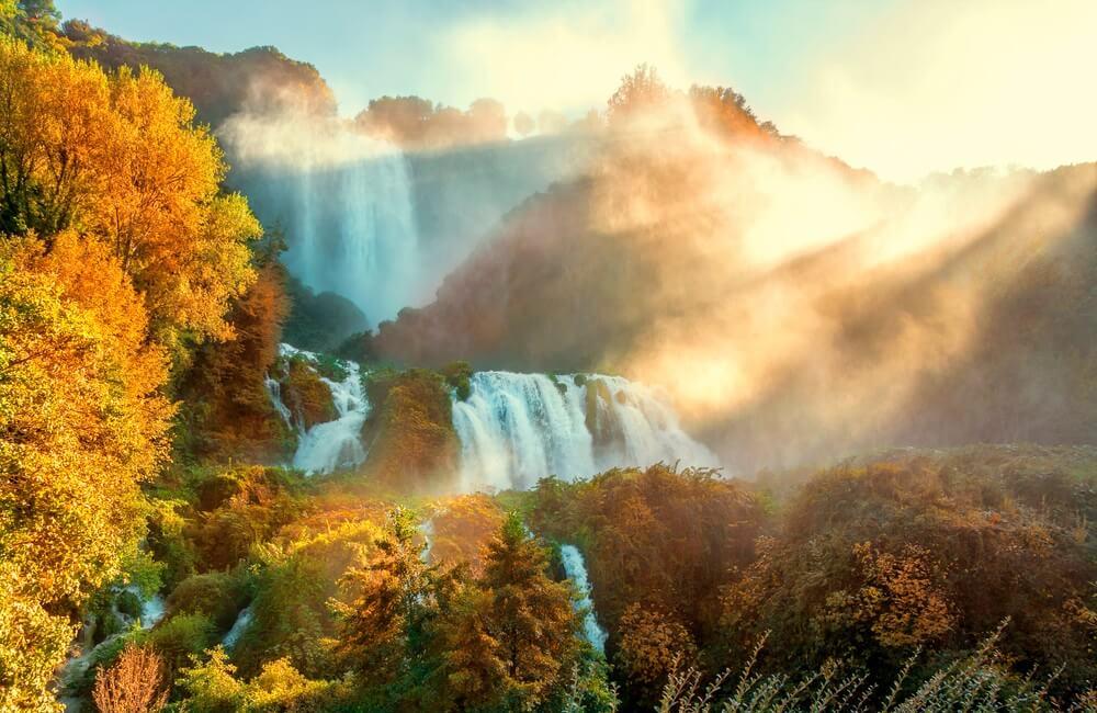 De Marmore watervallen nabij Terni, Umbrië.