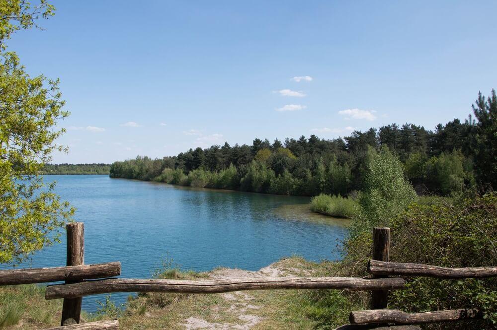 Het natuurrijke Reindersmeer in Limburg, Nederland. Houten hekje op de voorgrond, daarachter prachtig blauw meer met omliggende bossen.