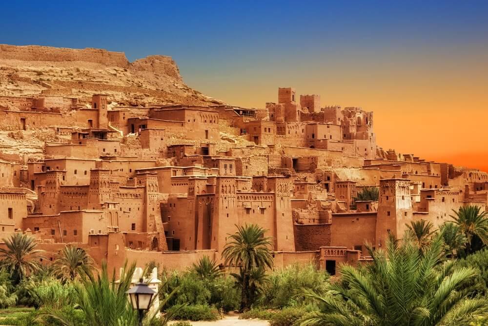 Kasbah Ait Ben Haddou in het Atlasgebergte van Marokko. Een van de oudste Marokko steden.