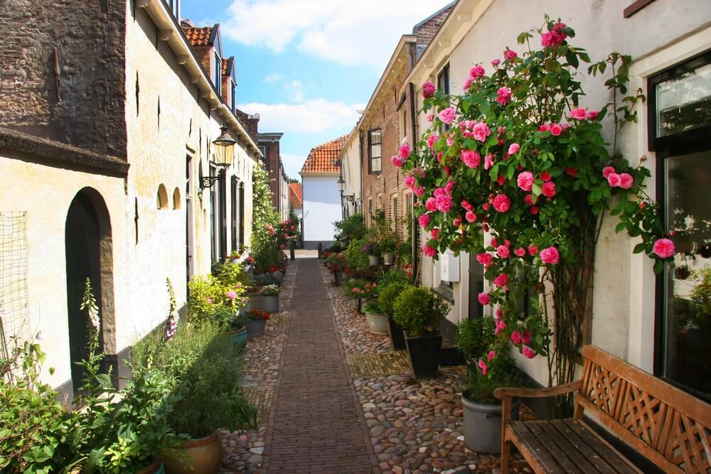 Dorpsstraat met straatmeubilair en bloemen, potten en pannen, Elburg, Nederland.