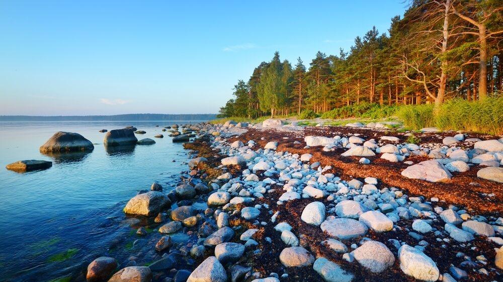 Rotsen aan de kust van Kasmu (Kapiteinstorp), Estland.