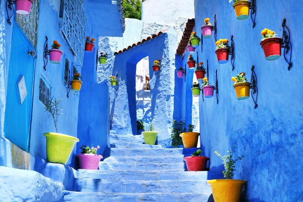 Traditionele Marokkaanse architectonische details in Chefchaouen, Marokko, Afrika.