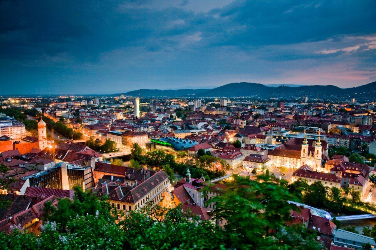 Overzicht van het centrum van Graz, Oostenrijk.