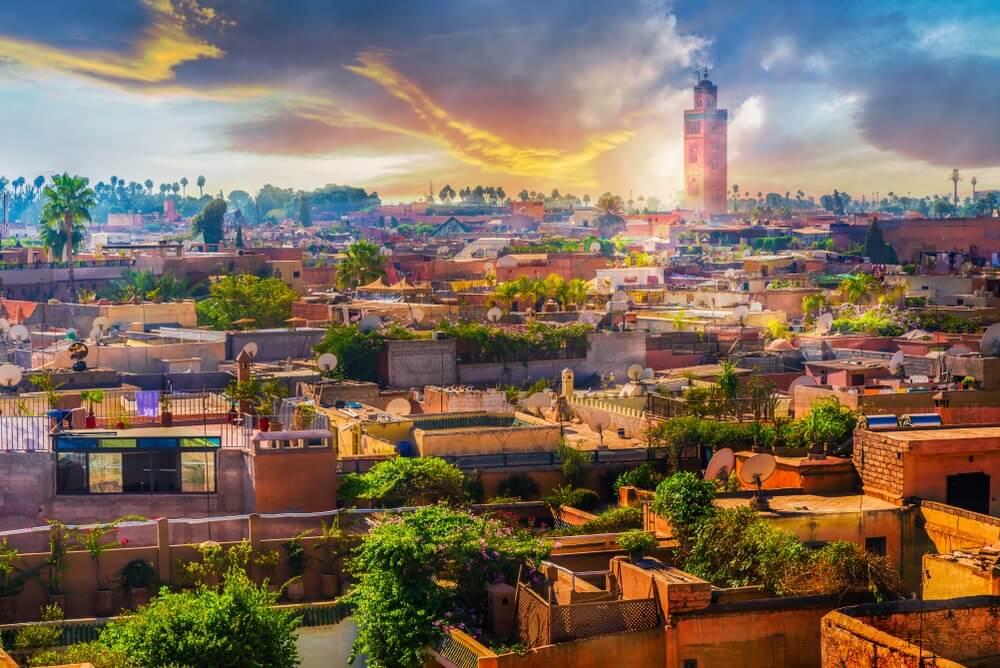 Panoramisch uitzicht op Marrakech medina, steden in Marokko.