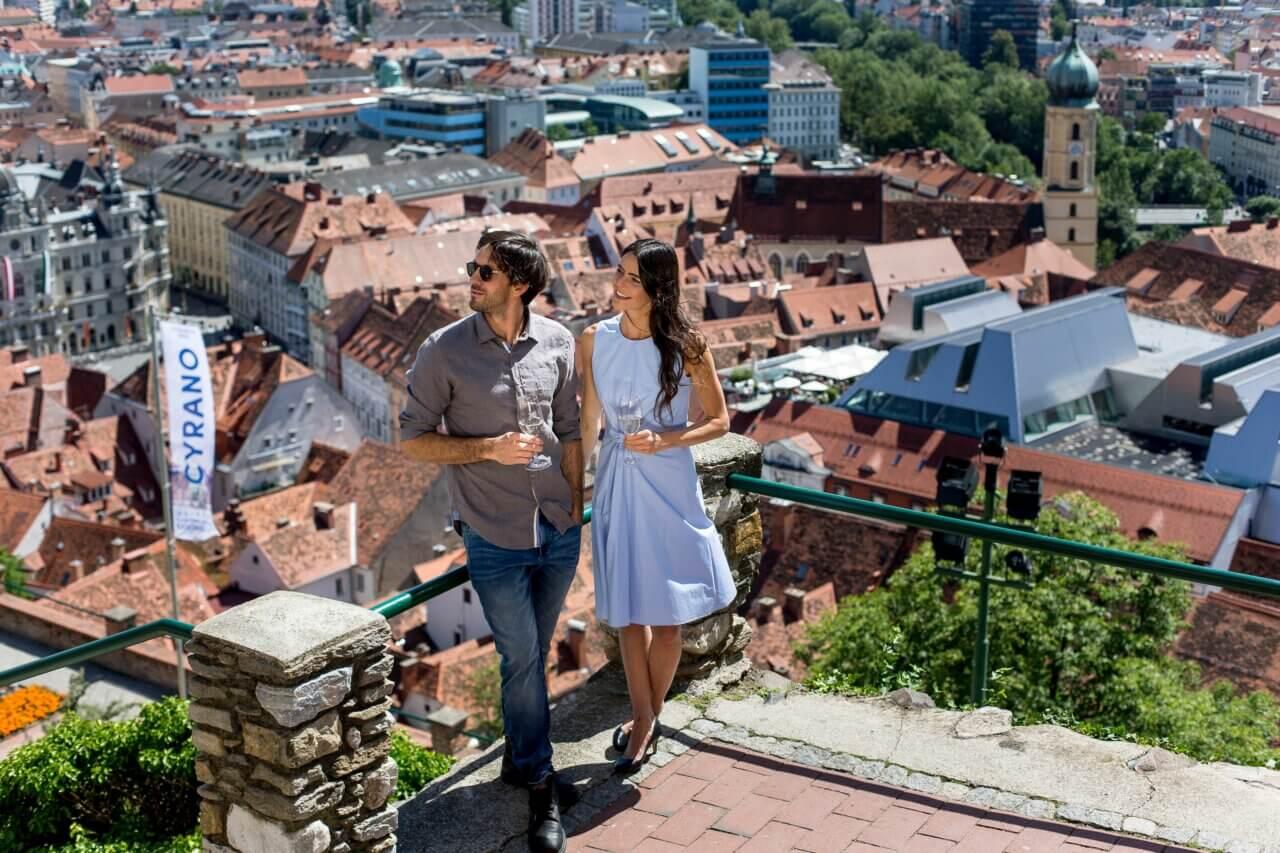 Uitzicht vanaf de Schlossberg in Graz, Oostenrijk.