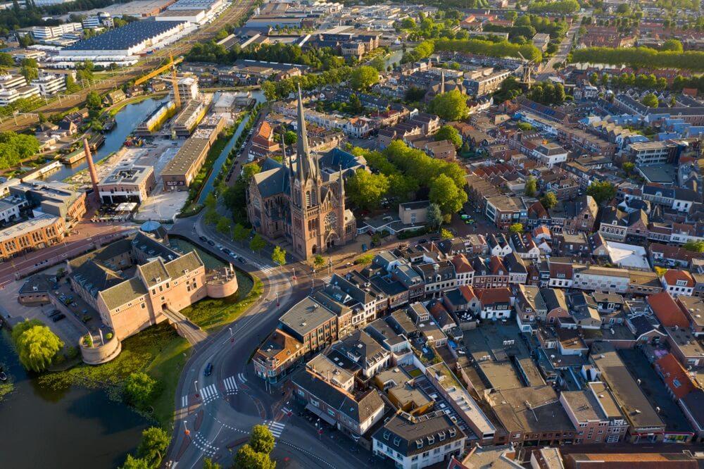 Uitzicht over Woerden, provincie Utrecht.